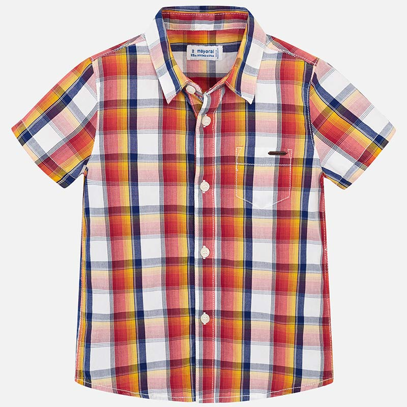 3134 Tangerine Navy Plaid S/S Button Up