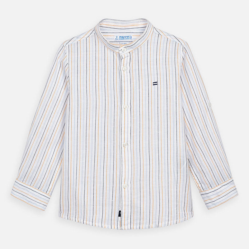 Mayoral Spain Boys Mao Collar Linene Dress Shirt, Striped, yellow, grey, blue, long sleeve, 3170