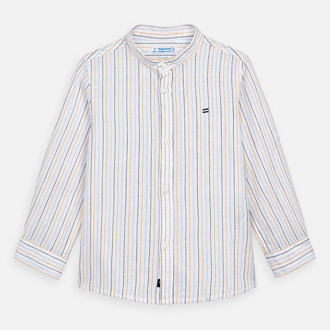 3170 Mayoral Boys Striped Cotton Linen Mao Collared Dress Shirt, Sunflower