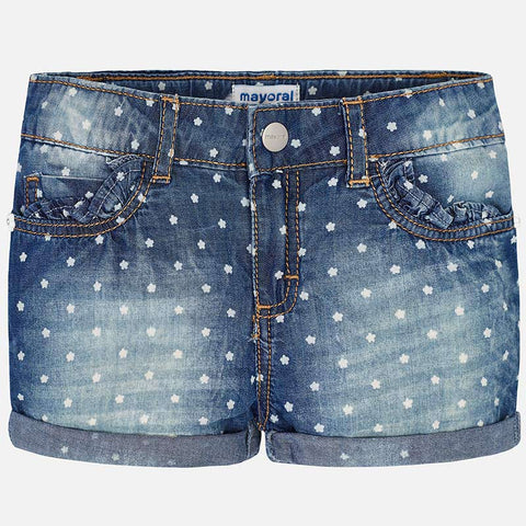 Mayoral 3204 Flower Print Soft Denim Shorts, Adjustable Waistband