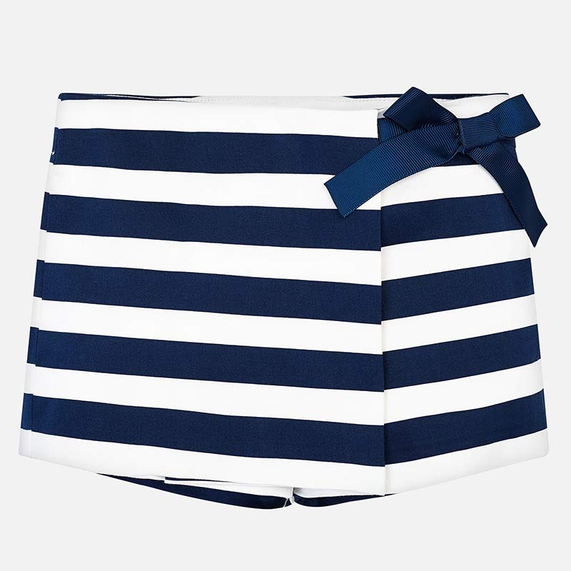 navy striped skorts for little girls, nautical mayoral 3208 skirt for summer
