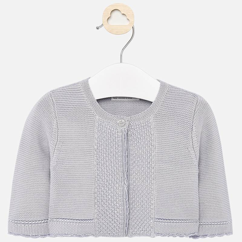 Mayoral 325 Baby girls classic knit cardigan sweater, light grey, scalloped edging, one button