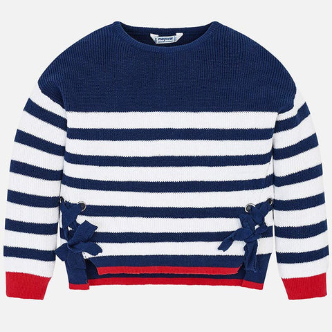 Mayoral 3301 Girls Lace Up Crewneck Navy Striped Sweater