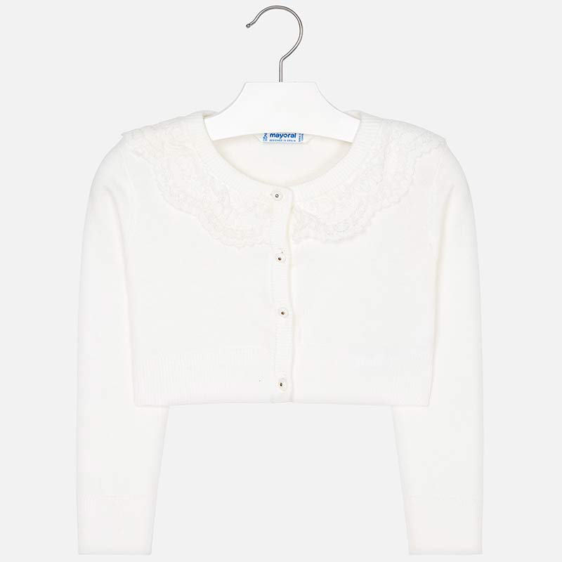 3302 Mayoral White cropped cardigan sweater