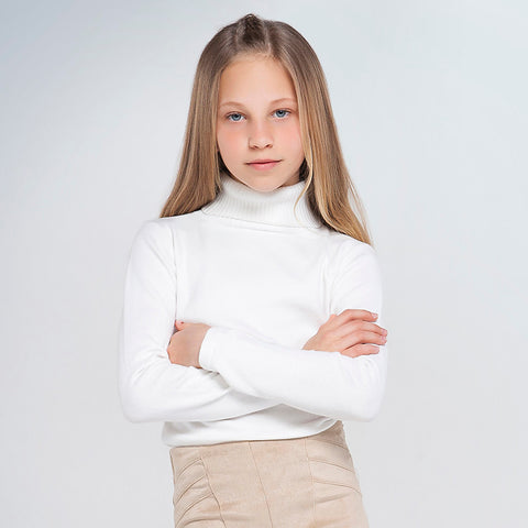 Mayoral 345 Girls Ribbed Turtleneck - Soft White