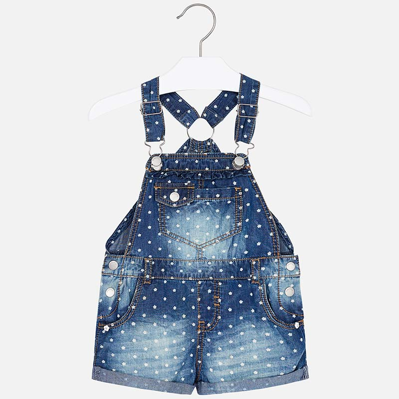 girls denim overalls, flower print, mayoral 3601