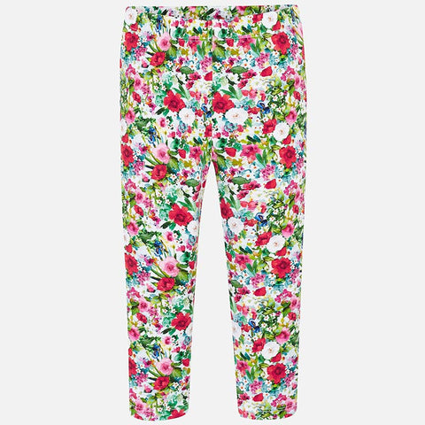 Mayoral 3702 Girls Floral Print Stretch Leggings, Green