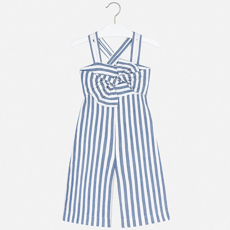 3817 Mayoral Blue & White Striped Summer Jumpsuit