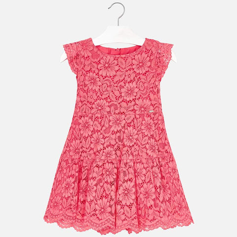Mayoral 3934 Spring Lace Dress, Coral