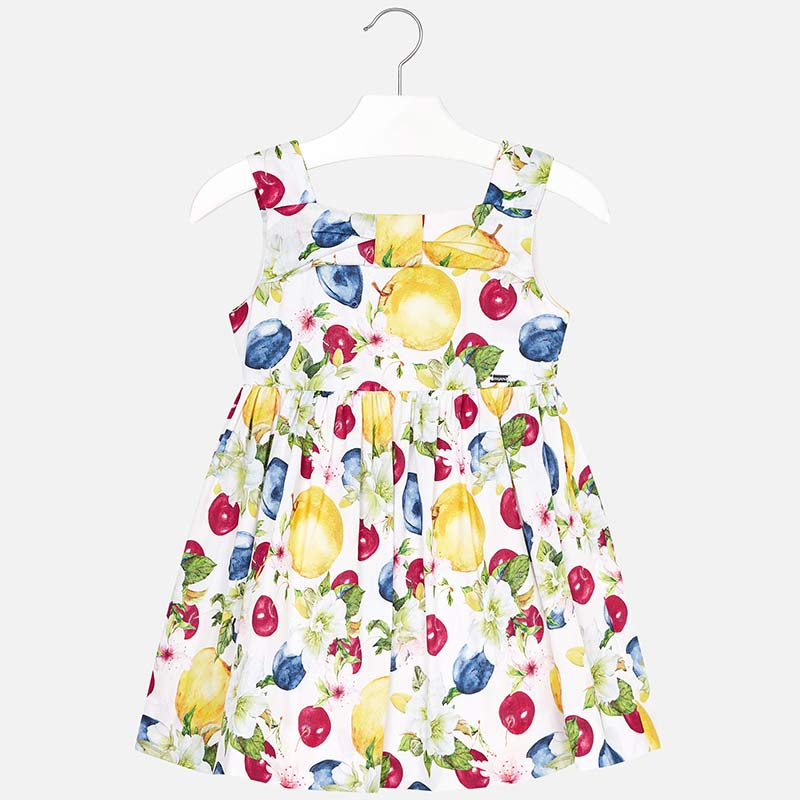 girls fruit print summer dress, mayoral spain 3946, apples, blueberries