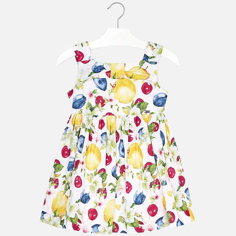 Mayoral 3946 Fruit Print Summer Dress for Girls, White/Yellow