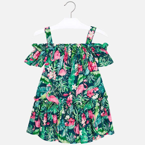 Mayoral 3952 Tropical Print Cold Shoulder Sun Dress, Palm Leaf & Flamingos
