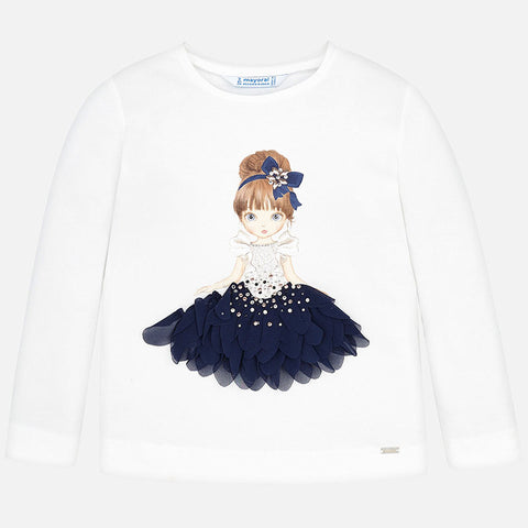 4008 Mayoral Navy & White 3D Princess Graphic Print Long Sleeve Graphic T-Shirt