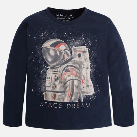 Mayoral 4013 Navy L/S Astronaut Space Dream Graphic TShirt