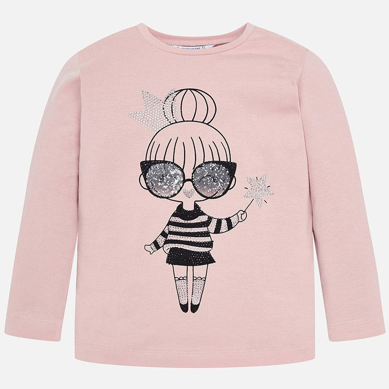 4016 mayoral dusty rose pink girls long sleeve sparkly graphic print t-shirt