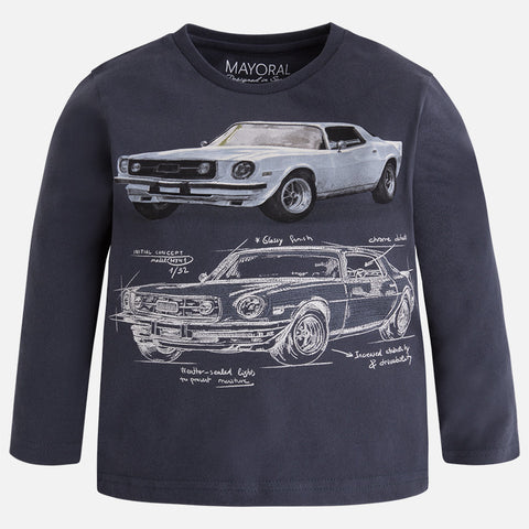 Mayoral 4017 Deep Navy L/S Classic Car Graphic T-Shirt