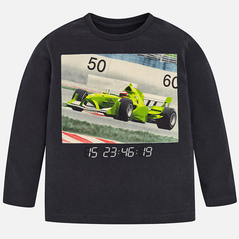 boys racecar graphic print tshirt, charcoal grey, lime green