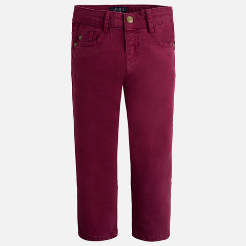 Mayoral 41, Boys 5 Pocket Twill Pants, Deep Red