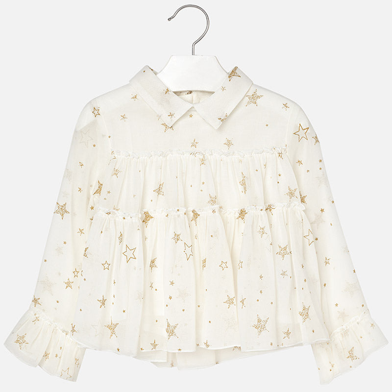 eb56bf1185d55 Mayoral 4128 Girls Ruffled Chiffon Shirt, Gold Stars – Bubble Belly ...
