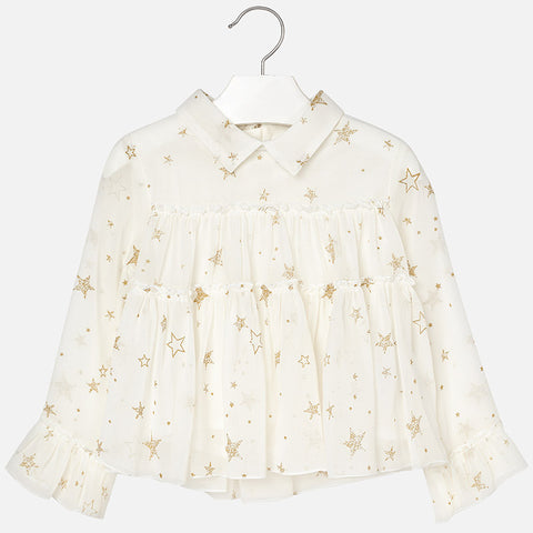 4128 Mayoral Girls Ruffled Chiffon Shirt, Gold Stars