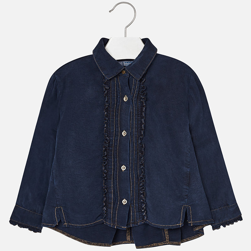 girls dark wash soft drapey flowy denim shirt