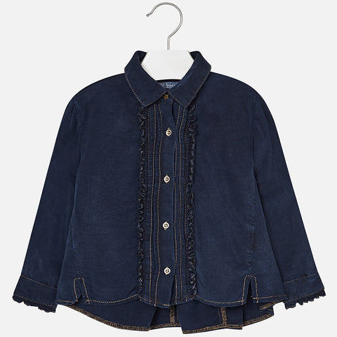 4130 Mayoral Flowy Draped Denim Button Up Shirt