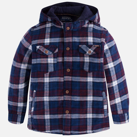 Mayoral 4133 Quilted Plaid Hooded Jacket, Navy/Burgundy