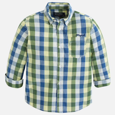 Mayoral 4144 Green Plaid Button Up Shirt