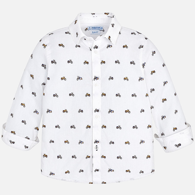 boys button up collared shirt with motorcycle print, white