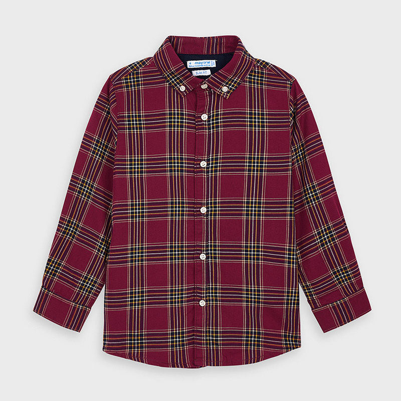 4147 Mayoral Boys Plaid Button Up Shirt, Maroon