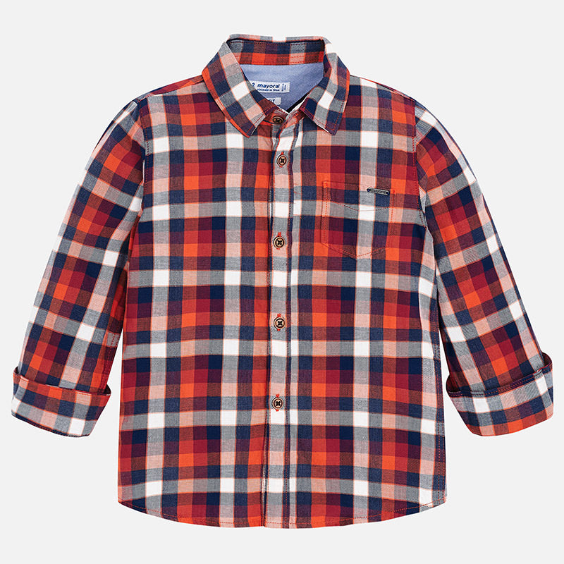 Boys casual button up plaid shirt, collared, red and navy