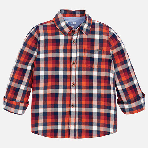4148 Mayoral Plaid Button Up Shirt, Navy/Red