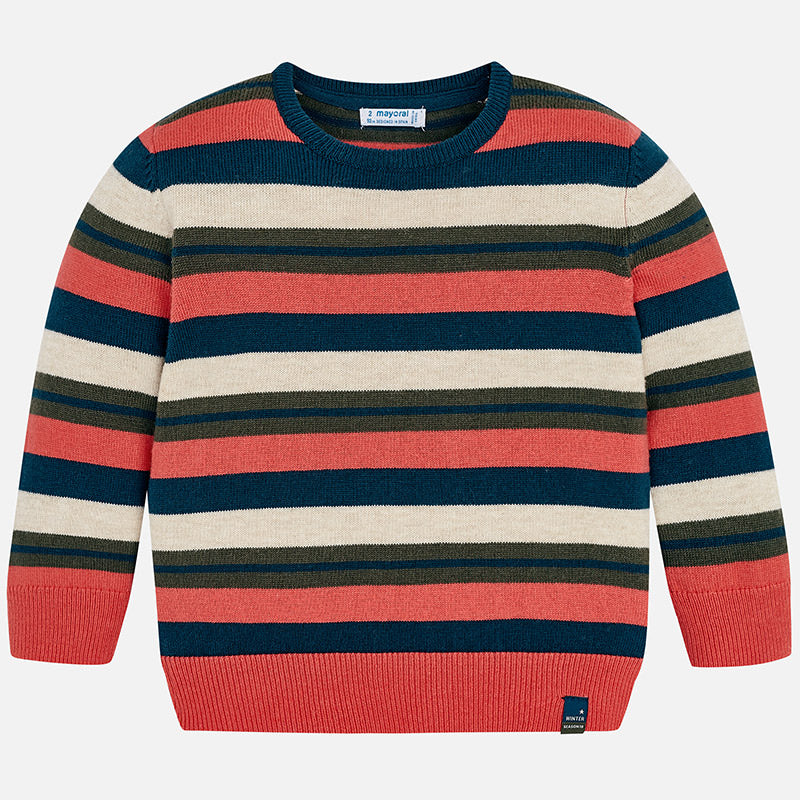 boys striped crewneck sweater, fall and winter knit,  mayoral 4314