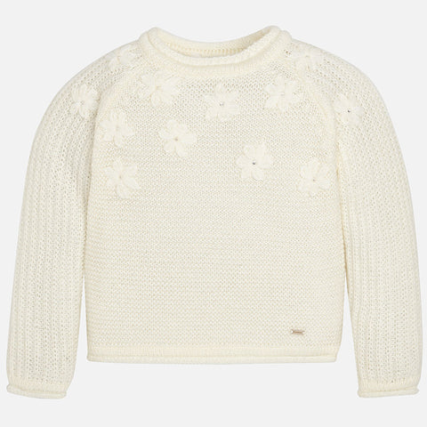 Mayoral 4316 Openwork Floral Crewneck Knit Sweater, Ivory