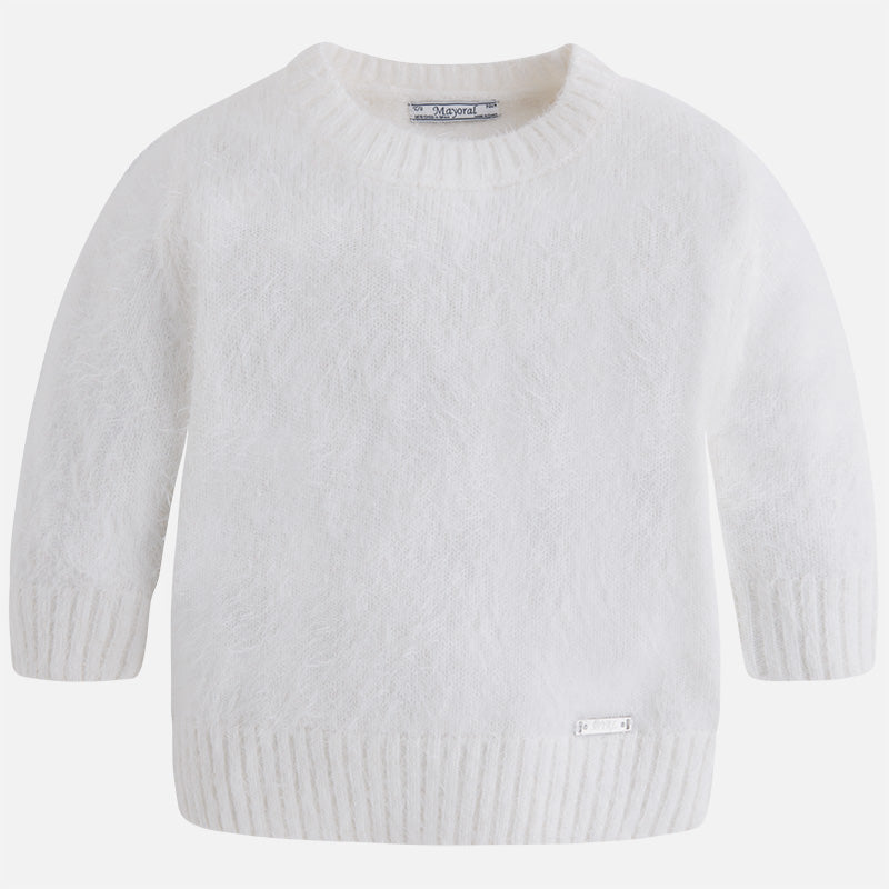Mayoral 4321 Cashmere Soft Mohair 3/4 Sleeve Sweater, Soft White