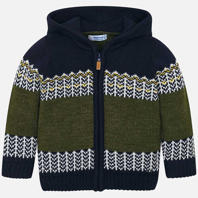 4321 Mayoral Boys Front Zippered Sweater, Green and White Designed, Navy Blue Background w/ Hoodie