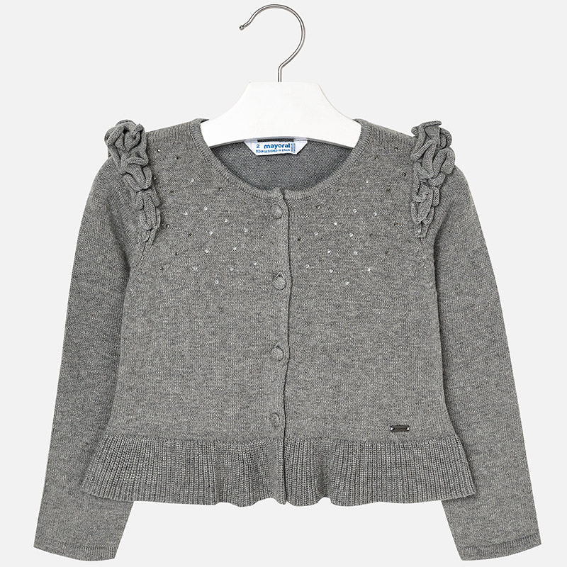 4328 Mayoral Girls Knit Cardigan, Grey with Crystals, Ruffled Shoulder