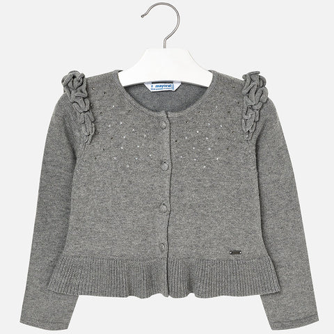 4328 Mayoral Girls Ruffled Shoulder Knit Cardigan w/Crystals, Grey