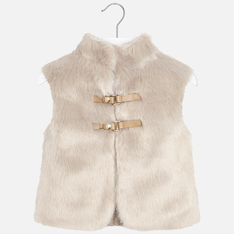 Mayoral girls faux fur vest with knit back, tan, champagne 4330
