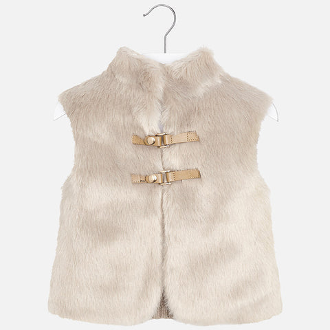Mayoral 4330 Faux Fur & Knit Back Vest, Coco