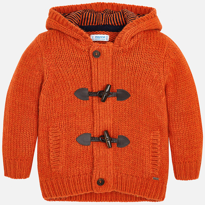boys chunky knit hoodie sweater, orange zip up with toggles