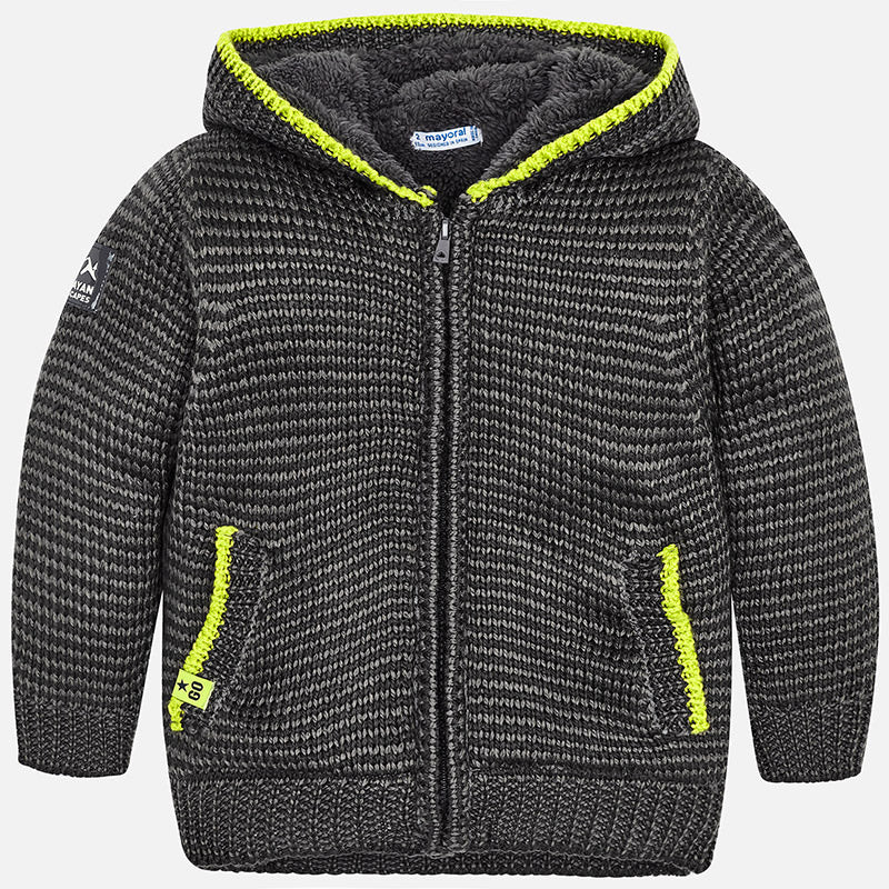 4336 Mayoral Boys Knit Fur Lined Zippered Hoodie Sweater, Charcoal/Lime