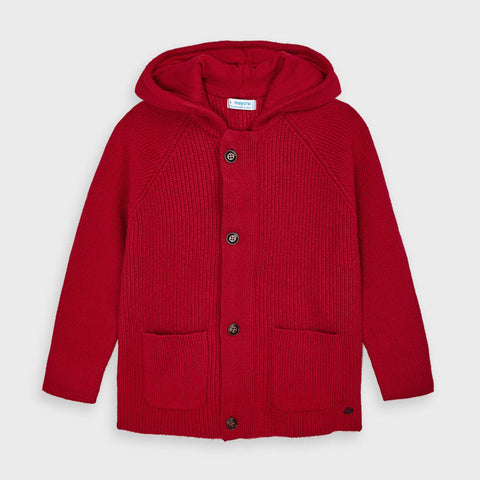 4340 Classic Button Front Woven Hooded Cardigan, Cherry Red