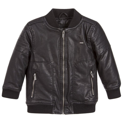 Mayoral 4404 Boys Leatherette Bomber Jacket - Black