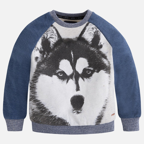 Mayoral, 4407, Wolf/Husky Graphic Print Knit Sweatshirt