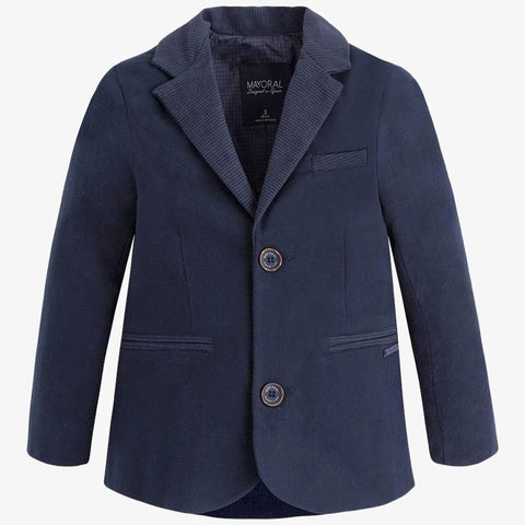 Mayoral 4441, Boys Soft Woven Tailored Jacket - Deep Navy