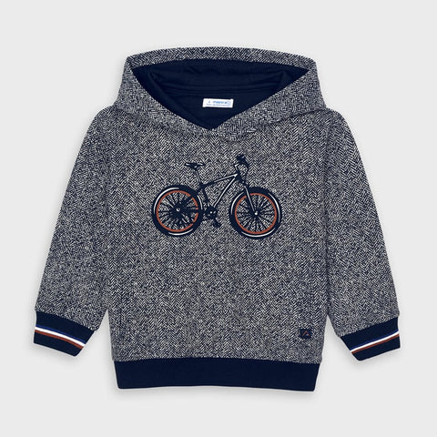 4460 Mayoral Boys Herringbone & Bicycle Print Sweatshirt, Charcoal