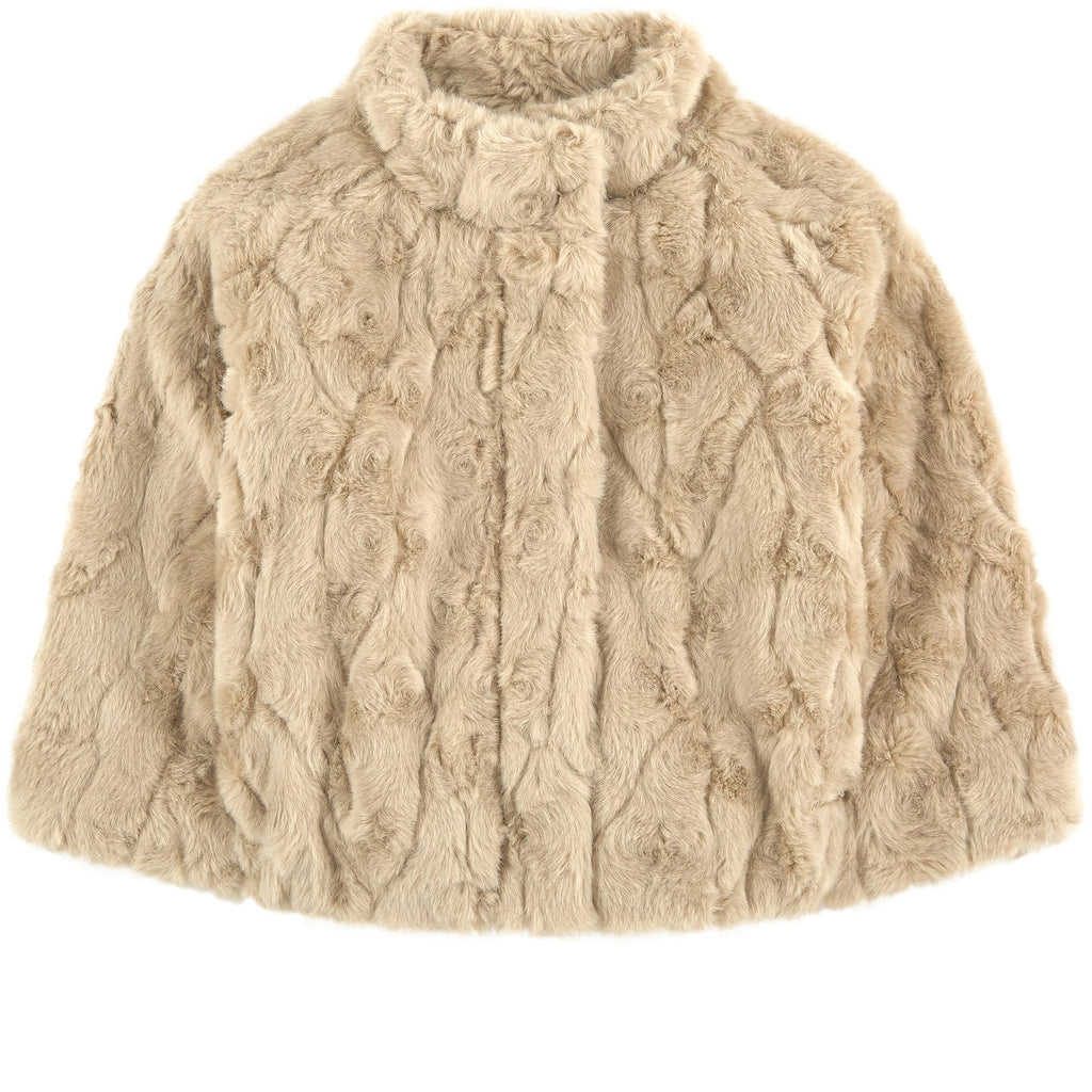 Mayoral 4461 Faux Fur Opera Coat, Champagne