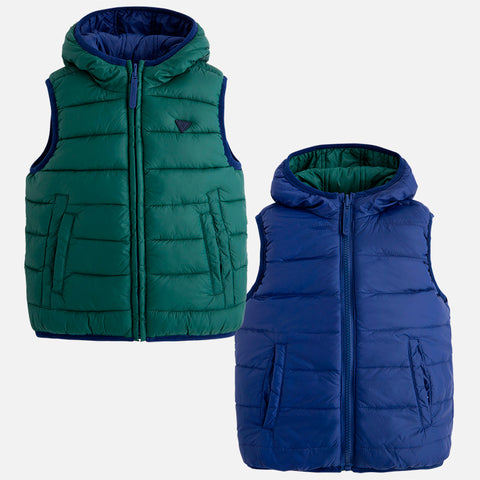 Mayoral 4431 Reversible Puffer Vest, Navy/Forest Green