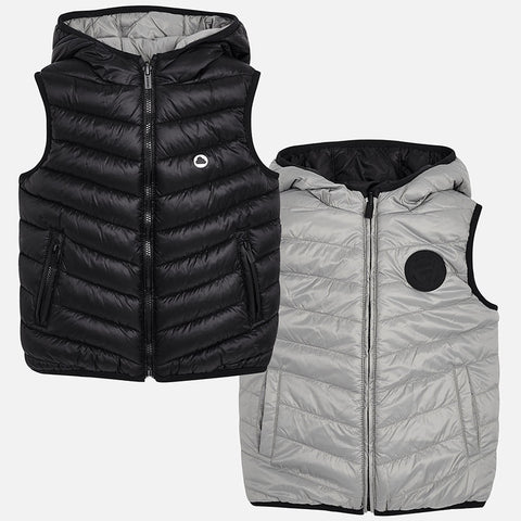 4466 Mayoral Reversible Padded Puffer Vest, Black & Grey